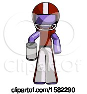 Purple Football Player Man Begger Holding Can Begging Or Asking For Charity