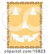 Border Of Candy Corn Framing A Pumpkin Face
