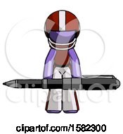 Purple Football Player Man Weightlifting A Giant Pen