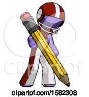Purple Football Player Man Writing With Large Pencil