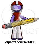Purple Football Player Man Writer Or Blogger Holding Large Pencil