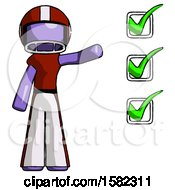 Purple Football Player Man Standing By List Of Checkmarks