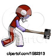 Purple Football Player Man Hitting With Sledgehammer Or Smashing Something