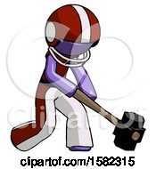 Purple Football Player Man Hitting With Sledgehammer Or Smashing Something At Angle