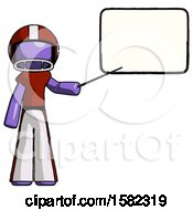 Purple Football Player Man Giving Presentation In Front Of Dry Erase Board