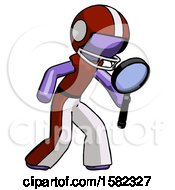 Purple Football Player Man Inspecting With Large Magnifying Glass Right