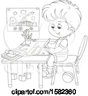 Lineart School Boy Writing Letters At His Desk