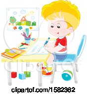 Clipart Of A White School Boy Writing Letters At His Desk Royalty Free Vector Illustration by Alex Bannykh