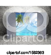 Poster, Art Print Of 3d Stone Room Interior With Open Doors And A View Of The Ocean And Palm Trees
