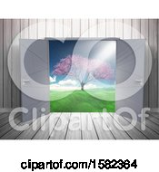 Clipart Of A 3d Wood Room Interior With Open Doors And A View Of A Blossoming Tree Royalty Free Illustration