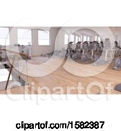 Clipart Of A 3d Gym Interior Royalty Free Illustration