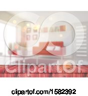 Clipart Of A 3d Red Wood Counter And Blurred Living Room Interior Royalty Free Illustration