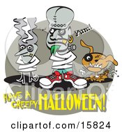 Bride Of Frankenstein And Frankenstine In Straitjackets With Their Dog Standing By Clipart Illustration