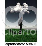 Poster, Art Print Of 3d Sad Business Man Under A Cloud