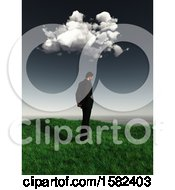 3d Sad Business Man Under A Cloud