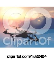 3d Drone Over A Still Bay At Sunrise Or Sunset