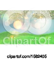 Clipart Of A 3d Grassy Hill With Blossom Branches Royalty Free Illustration