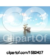 Clipart Of A 3d Sailing Ship Royalty Free Illustration