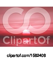 Clipart Of A 3d Red Ocean Sunset Royalty Free Illustration