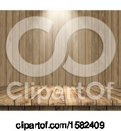Poster, Art Print Of 3d Wood Surface And Wall With Light Shining Down