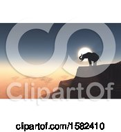 Clipart Of A 3d Silhouetted Elephant On A Cliff Against A Sunset Royalty Free Illustration