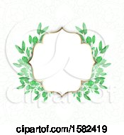 Poster, Art Print Of Blank Frame With Watercolor Green Leaves On Mandala