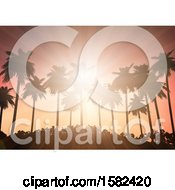 Clipart Of A Tropical Sunset With Rays And Silhouetted Palm Trees And Foliage Royalty Free Vector Illustration