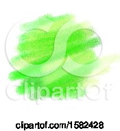 Neon Green Watercolor Background On White