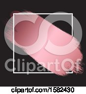 Clipart Of A Metallic Pink Paint Stroke Through A White Frame On Black Royalty Free Vector Illustration