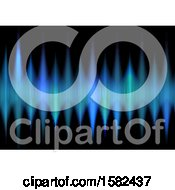 Clipart Of A Background Of Blue Techno Waves Royalty Free Vector Illustration