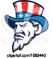 Clipart Of A Retro Tough Angry Uncle Sam Face With A Patriotic Top Hat Royalty Free Vector Illustration