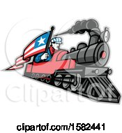 Retro Train Driver Holding A Flag On A Steam Locomotive