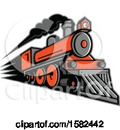 Clipart Of A Retro Steam Locomotive Train Royalty Free Vector Illustration by patrimonio