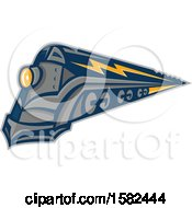 Clipart Of A Retro Steam Locomotive Train With Lightning Markings Royalty Free Vector Illustration
