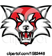 Clipart Of A Tough Red Panda Mascot Face Royalty Free Vector Illustration by patrimonio