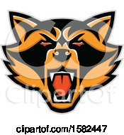 Clipart Of A Tough Racoon Mascot Face Royalty Free Vector Illustration