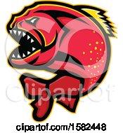 Clipart Of A Tough Red Piranha Fish Mascot Royalty Free Vector Illustration