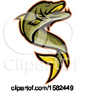Clipart Of A Tough Pike Fish Mascot Jumping Royalty Free Vector Illustration by patrimonio