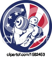 Poster, Art Print Of Retro Muscular Male Crossfit Bodybuilder Athlete Holding A Barbell Or Dumbbell In An American Flag Circle