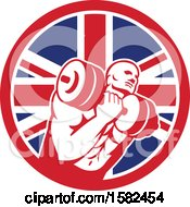 Clipart Of A Retro Muscular Male Crossfit Bodybuilder Athlete Holding A Barbell Or Dumbbell In A Union Jack Flag Circle Royalty Free Vector Illustration