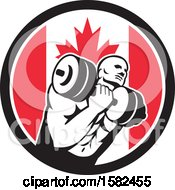 Poster, Art Print Of Retro Muscular Male Crossfit Bodybuilder Athlete Holding A Barbell Or Dumbbell In A Canadian Flag Circle