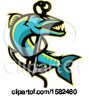 Clipart Of A Great Barracuda Fish And Anchor Royalty Free Vector Illustration by patrimonio