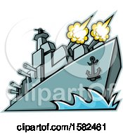 Clipart Of A Warship American Destroyer Firing Cannons Royalty Free Vector Illustration