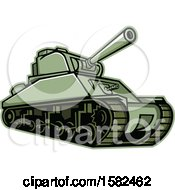 Clipart Of A Military M4 Sherman Tank Royalty Free Vector Illustration by patrimonio