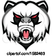 Clipart Of A Tough Panda Mascot Face Royalty Free Vector Illustration