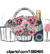 Clipart Of A Retro Wedding Basket Of Flowers And Champagne With A Gift Royalty Free Vector Illustration by Vector Tradition SM