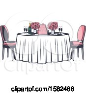 Poster, Art Print Of Retro Table With Flowers And A Wedding Cake