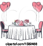 Clipart Of A Retro Table With Flowers Balloons And A Wedding Cake Royalty Free Vector Illustration