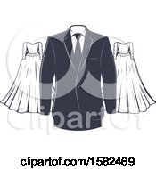 Clipart Of A Vintage Wedding Gown And Tuxedo Design Royalty Free Vector Illustration