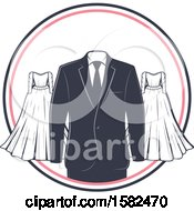 Poster, Art Print Of Vintage Wedding Gown And Tuxedo Design